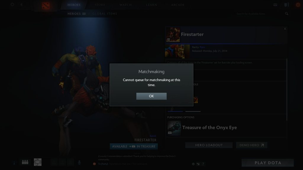 Cannot Queue For Matchmaking at This time