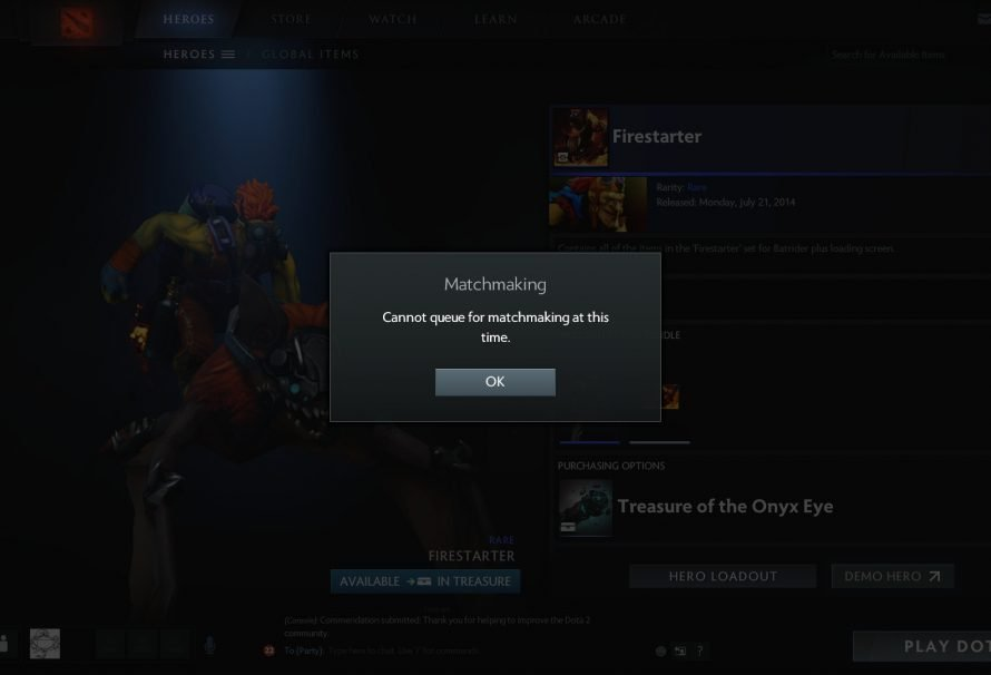 "DoTA 2 – Bug Fix | ""Cannot Queue For Matchmaking At This Time"""