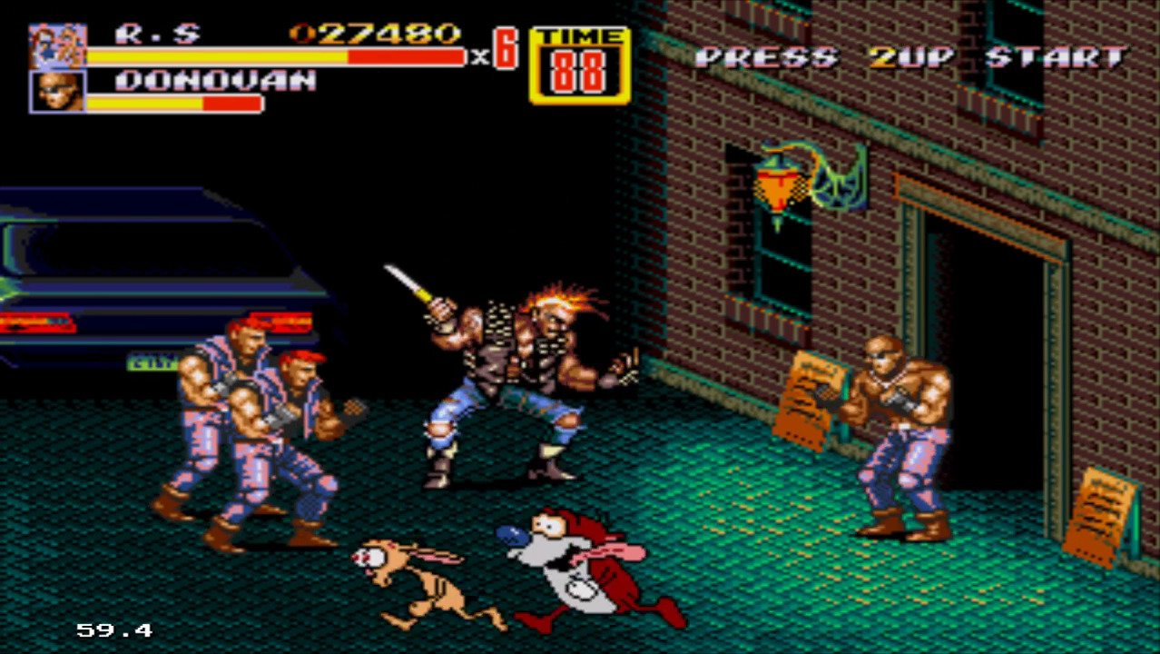Ren & Stimpy in Streets of Rage 2 - #GTUSA 2