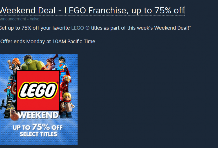 "Get Up To 75% Off ""Lego"" Games On Steam This weekend"